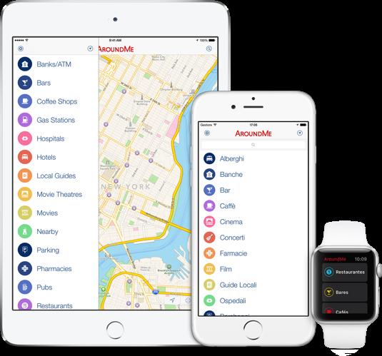 Ejemplos de pantallas de AroundMe visualizadas en una tableta, teléfono y rejol.